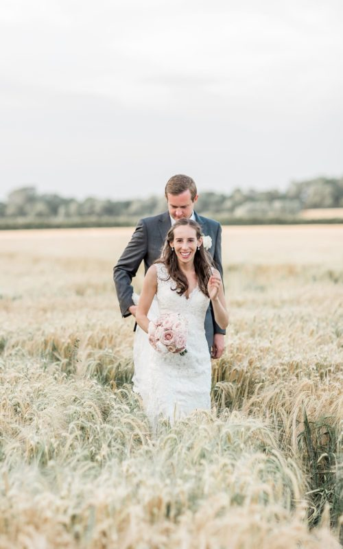 Summer wedding with delicate pinks at Winters Barns